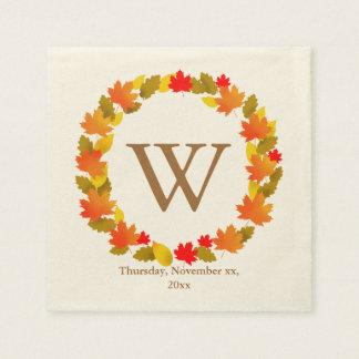 Autumn, Thanksgiving Monogram Paper Napkins