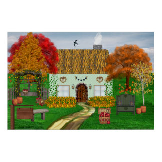 Autumn Thatched Cottage Poster