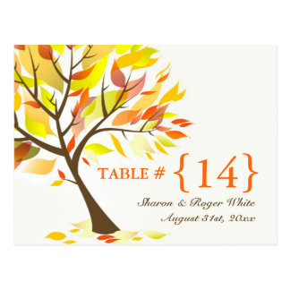 Autumn Theme Wedding Table Number Seats Cards Postcard