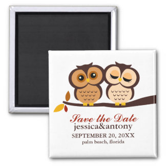 Autumn Themed Owls Wedding Square Magnet