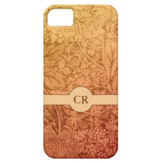 Autumn Thistles and Leaves Floral Custom Monogram iPhone 5 Case