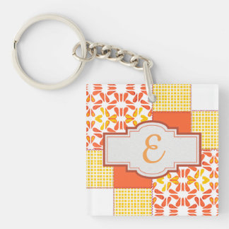 Autumn Tints Quilt Block Pattern Key Ring