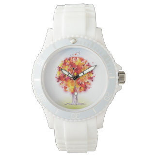 Autumn Tree And Cute Birds In Love Watch