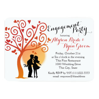 Autumn Tree and Engagement Couple Silhouette 13 Cm X 18 Cm Invitation Card
