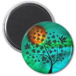 Autumn Tree and Harvest Moon 6 Cm Round Magnet