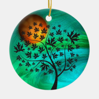 Autumn Tree and Harvest Moon Christmas Ornament