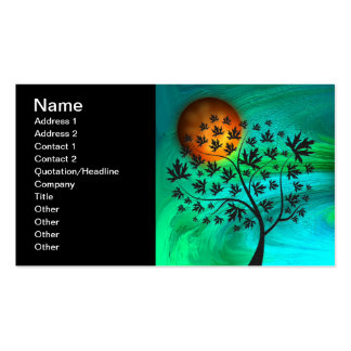 Autumn Tree and Harvest Moon Pack Of Standard Business Cards