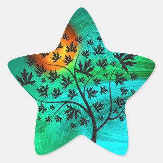 Autumn Tree and Harvest Moon Star Sticker