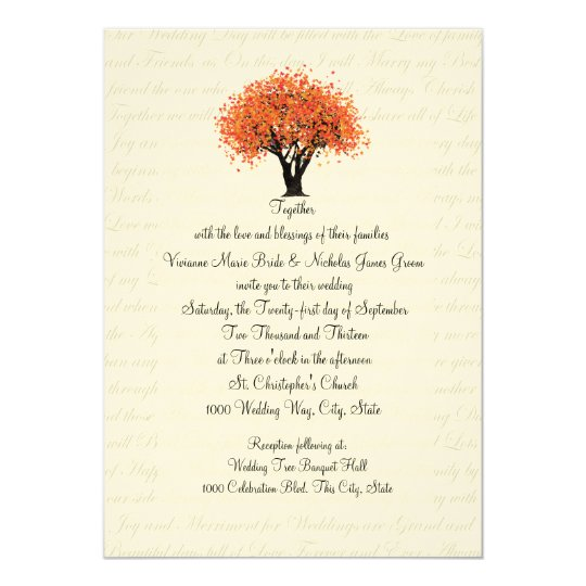 Autumn Tree Dancing Blooms and Text Design Wedding