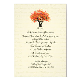 Autumn Tree Dancing Blooms and Text Design Wedding Card