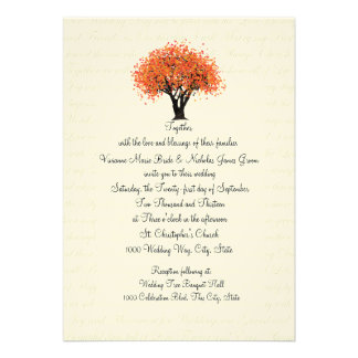 Autumn Tree Dancing Blooms and Text Design Wedding Personalized Announcements