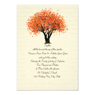 Autumn Tree Dancing Blooms Wedding 13 Cm X 18 Cm Invitation Card