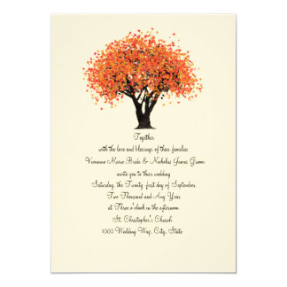 Autumn Tree Dancing Blooms Wedding Card
