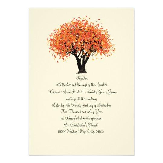 Autumn Tree Dancing Blooms Wedding Card