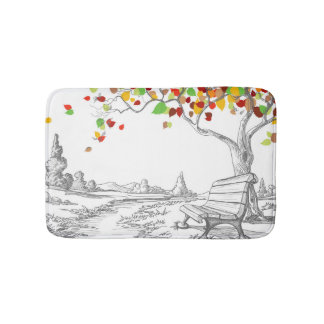 Autumn Tree, Falling Leaves Bath Mat