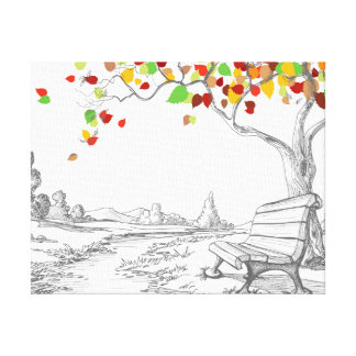 Autumn Tree, Falling Leaves Gallery Wrapped Canvas