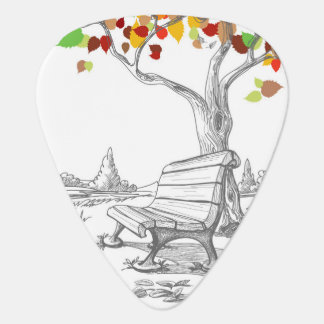 Autumn Tree, Falling Leaves Guitar Pick