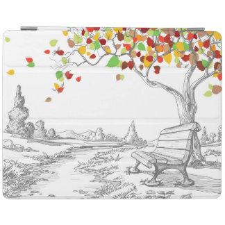 Autumn Tree, Falling Leaves iPad Cover