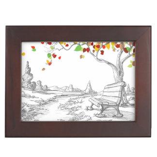 Autumn Tree, Falling Leaves Memory Box