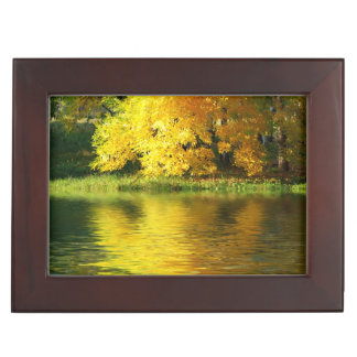 Autumn tree in the forest with reflection keepsake box