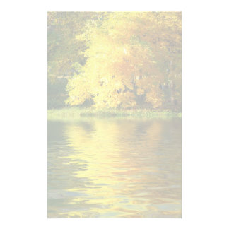 Autumn tree in the forest with reflection stationery