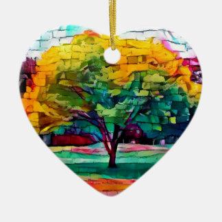 Autumn tree in vivid colors ceramic heart decoration