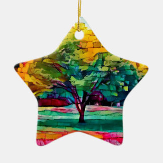 Autumn tree in vivid colors christmas ornament