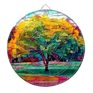 Autumn tree in vivid colors dartboard
