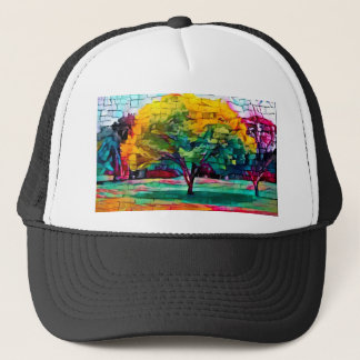 Autumn tree in vivid colors trucker hat