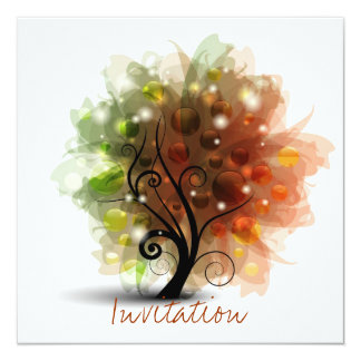 Autumn Tree 5.25x5.25 Square Paper Invitation Card
