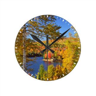Autumn tree landscape, Maine Round Clock