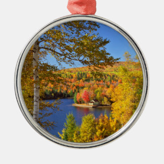 Autumn tree landscape, Maine Silver-Colored Round Decoration