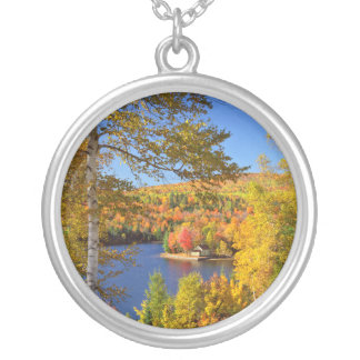 Autumn tree landscape, Maine Silver Plated Necklace