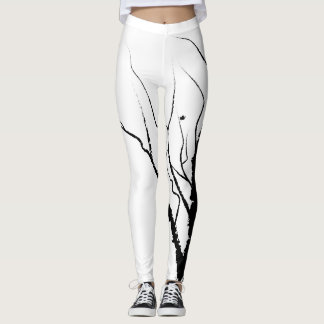 Autumn Tree Leggings Black on White