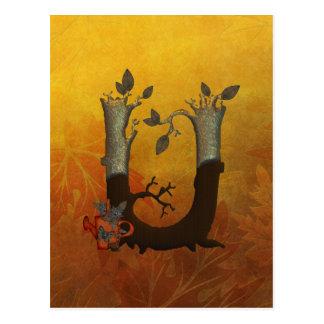 Autumn Tree Monogram U Postcard