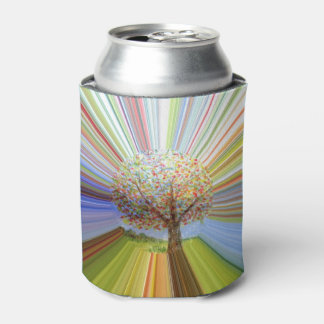 Autumn Tree Multicolored Abstract Stripy Art Can Cooler