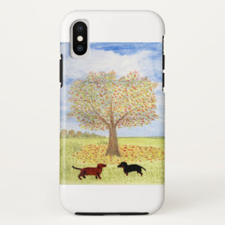 Autumn Tree Painting with Dachshund Dogs iPhone X Case