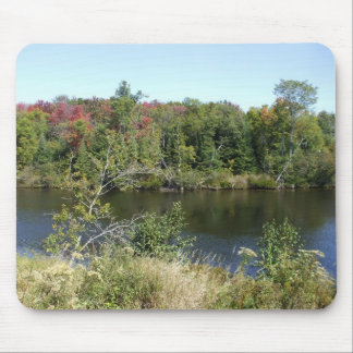 Autumn Tree River Scene Mouse Pad