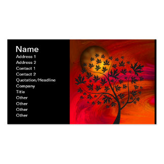 Autumn Tree Silhouette Painting Business Card Templates