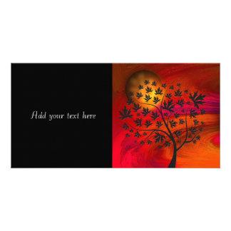 Autumn Tree Silhouette Painting Customized Photo Card
