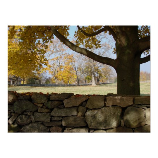 Autumn Tree & Wall Poster