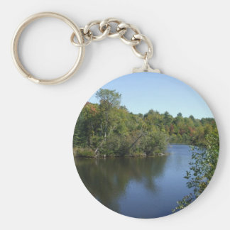 Autumn Tree Water Scene Key Ring