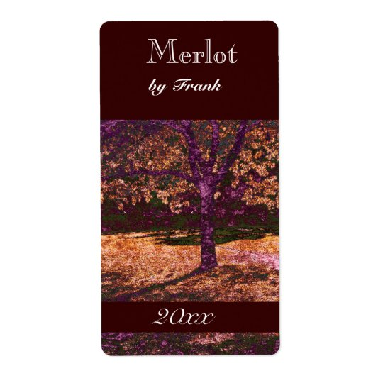 autumn tree  wine bottle label
