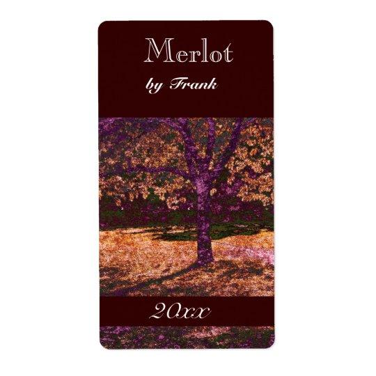 autumn tree  wine bottle label shipping label