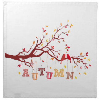autumn tree with colorful falling leaves and birds napkins