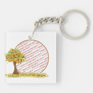 Autumn Tree with Falling Leaves Photo Frame Double-Sided Square Acrylic Key Ring