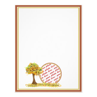 Autumn Tree with Falling Leaves Photo Frame Flyer
