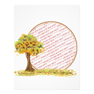 Autumn Tree with Falling Leaves Photo Frame Flyers
