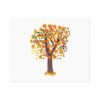 Autumn Tree with Leaves Stretched Canvas Print