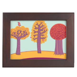 Autumn Trees And Bird Keepsake Box